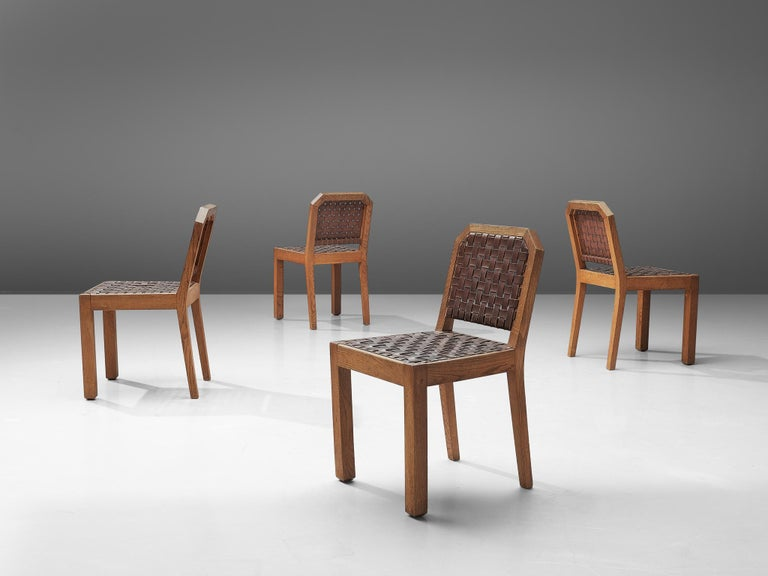Mid-20th Century French Set of Eight Dining Chairs in Oak and Woven Leather For Sale