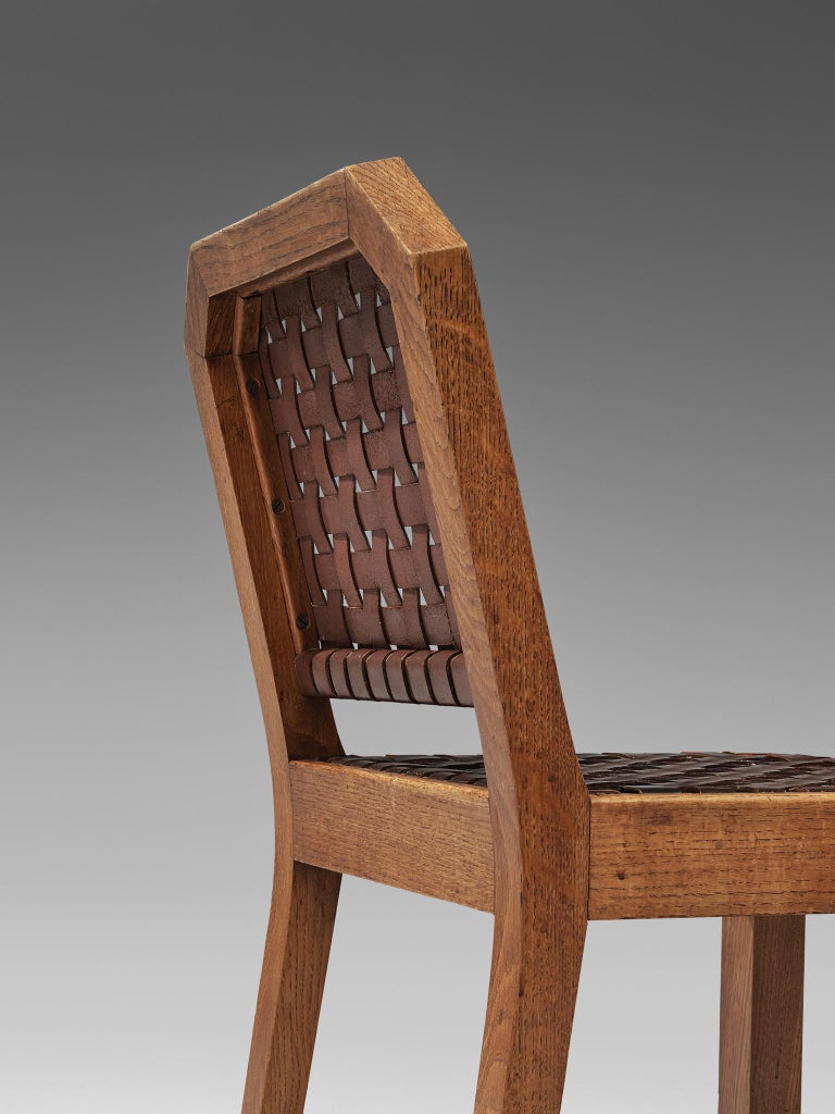 French Set of Eight Dining Chairs in Oak and Woven Leather For Sale 3