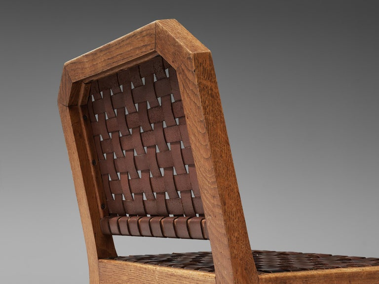 French Set of Eight Dining Chairs in Oak and Woven Leather For Sale 4