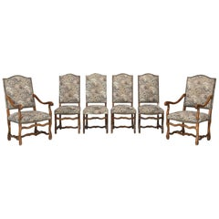 French Dining Chairs, Set of Six in the Style of Os De Mouton