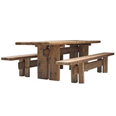 French Dining Set in Pine Wood