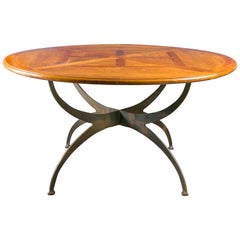 French Dining Table with Round Parquetry Top circa 1900 and New Custom Iron Base