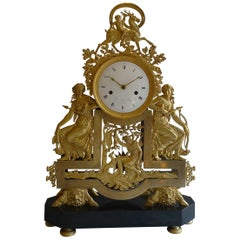 French Directoire Black Marble and Ormolu Clock Diana the Huntress