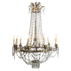 French Directoire Bronze and Crystal Chandelier, 18th Century
