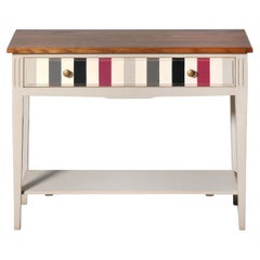 French Directoire Console, Lacquered Grey Legs, Colorful Drawer, Stained Top