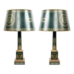 French Directoire Green Tole Table Lamps