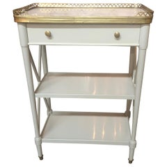 French Directoire' Grey Lacquered Side Table with Carrara Marble Top