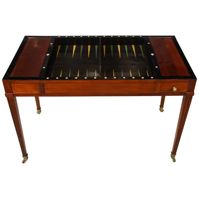 French Directoire mahogany backgammon table, 1790, offered by Guy Regal NYC