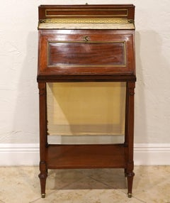 French Directoire Mahogany Lady's Fire Screen Fall Front Bureau or Writing Desk