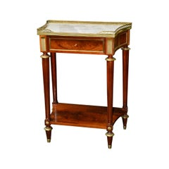 French Directoire Mahogany Side Table with Carrara Marble Top
