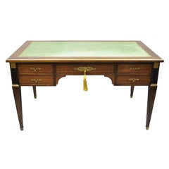 French Directoire Neoclassical Green Leather Top Mahogany Bureau Plat Desk