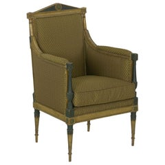 French Directoire Painted Antique Bergère Armchair, 19th Century