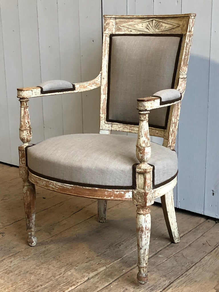 Painted French Directoire Period Armchair, circa 1800 For Sale