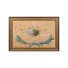 French Directoire Period Floral Painted Panel in Gilded Frame, circa 1790