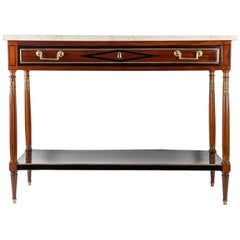 French Directoire Period Mahogany and Carrara Marble Console Top, circa 1798