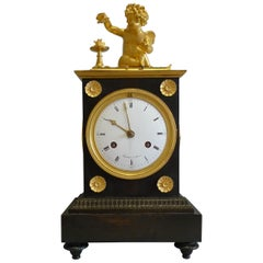 French Directoire Period Ormolu and Patinated Bronze Mantel Clock Signed Maniere