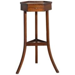 French Directoire Period Walnut Hexagonal 1-Drawer Pedestal Table
