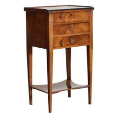 French Directoire Period Walnut Tiered 3-Drawer Marble-Top Commode, 19th Century