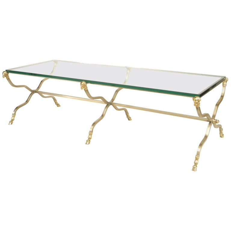 Maison Jansen French Directoire Style Brass and Glass Coffee Table For Sale