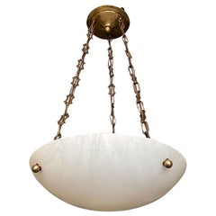 French Directoire Style Alabaster Chandelier Pendant Light