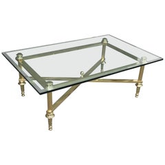 French Directoire Style Beveled Glass Rectangular Brass Coffee Cocktail Table