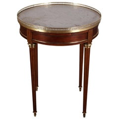 French Directoire Style 'Bouillotte' Table in Mahogany with Carrara Marble Top