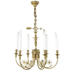 French Directoire Style Bronze Chandelier with Arrow Motif and Six Lights