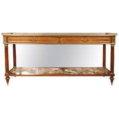 French Directoire Style Bronze Mounted Fruitwood and Marble Server, 20th Century