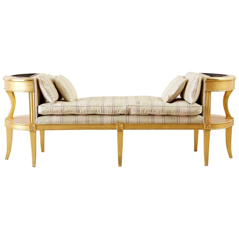 French Directoire Style Giltwood Window Bench Seat For
