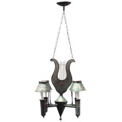French Directoire Style Green Tole Chandelier