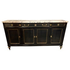 French Directoire Style Lacquered Credenza with Gilt Brass Trim and Marble Top