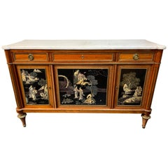 French Directoire Style Mahogany and Chinoiserie Side Cabinet