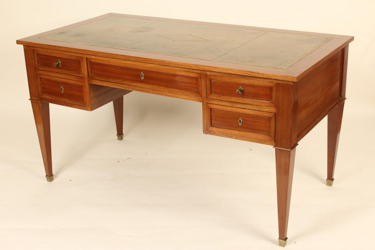 French Directoire Style Mahogany Desk In Good Condition For Sale In Laguna Beach, CA