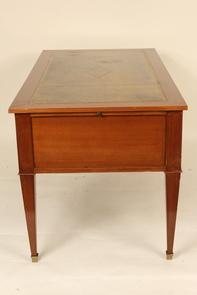 Brass French Directoire Style Mahogany Desk For Sale