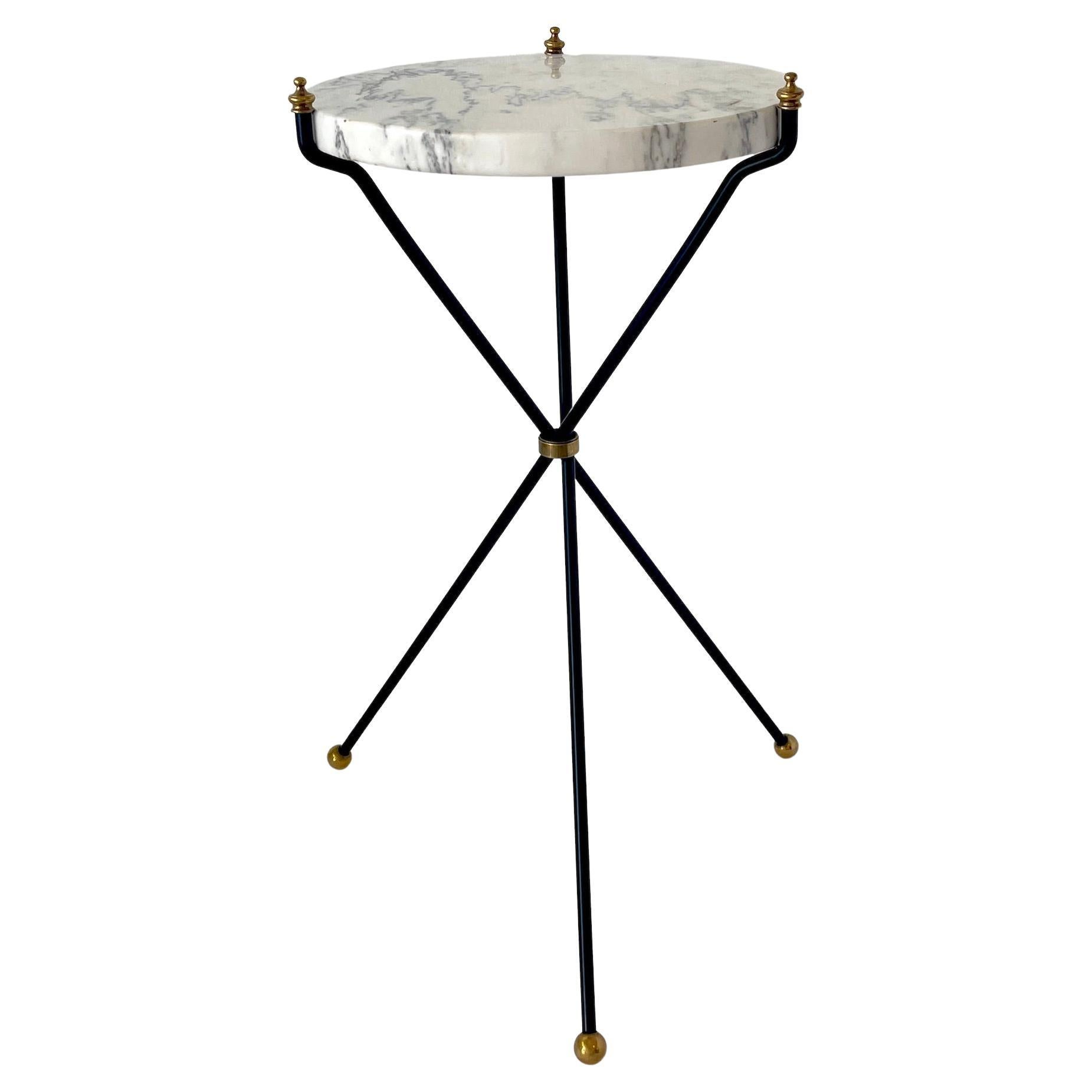 French Directoire Style Marble & Bronze Drinks Table, Attributed Maison Jansen