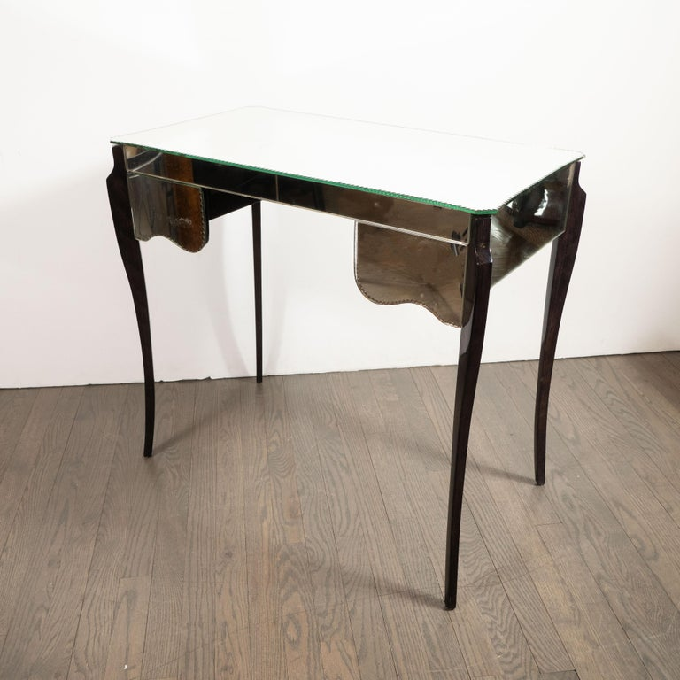 French Directoire Style Mirrored Vanity Table W/ Ebonized Walnut Cabriolet Legs For Sale 6