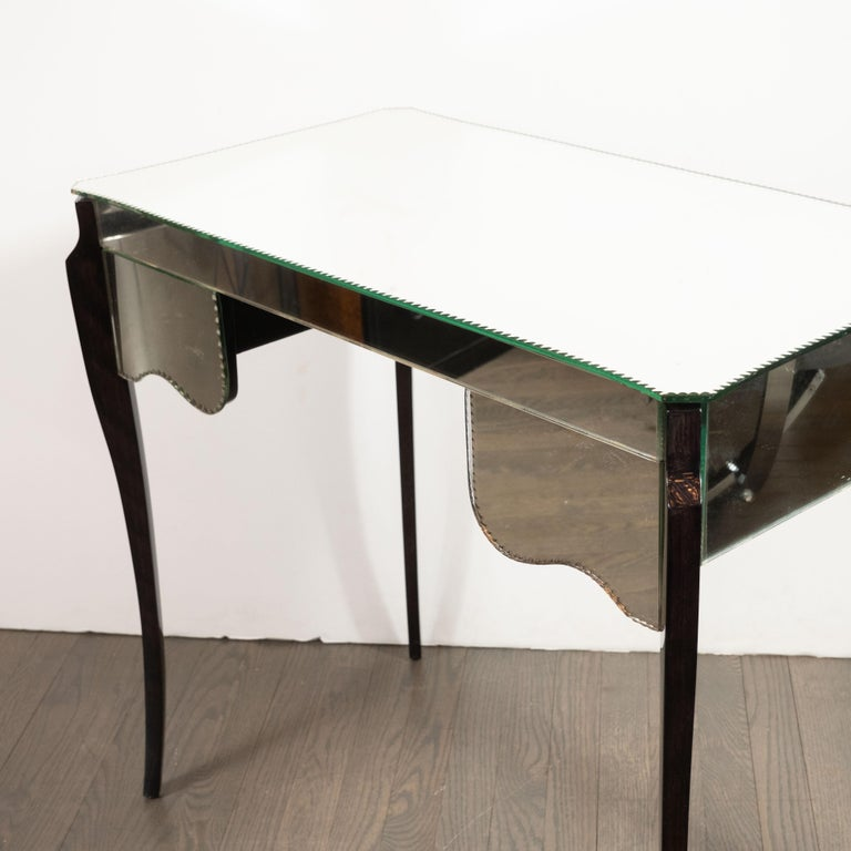 French Directoire Style Mirrored Vanity Table W/ Ebonized Walnut Cabriolet Legs For Sale 8