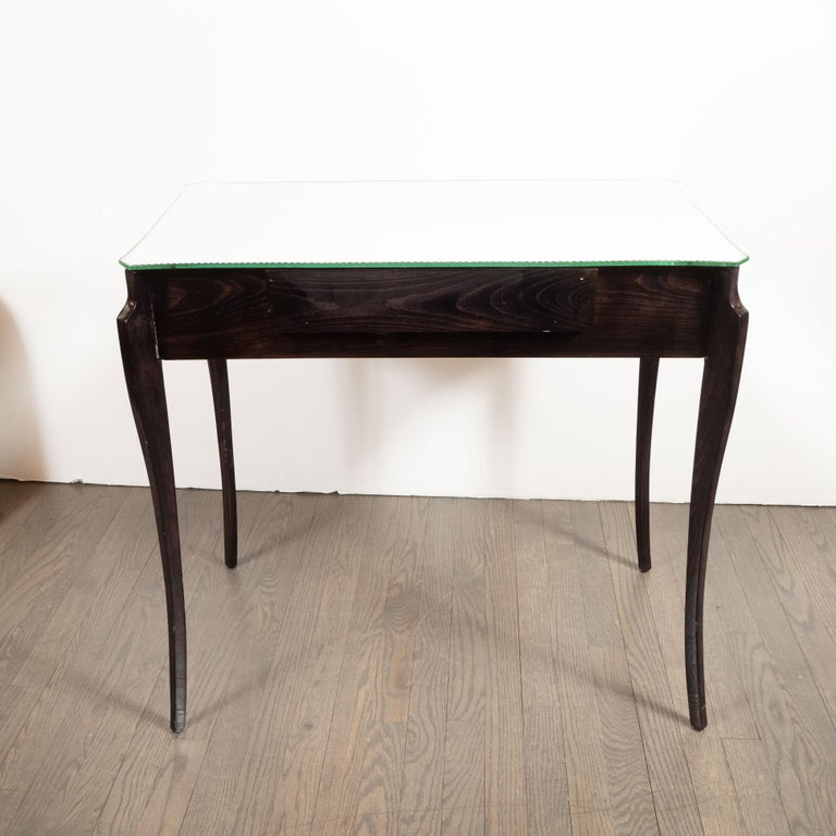 French Directoire Style Mirrored Vanity Table W/ Ebonized Walnut Cabriolet Legs For Sale 12