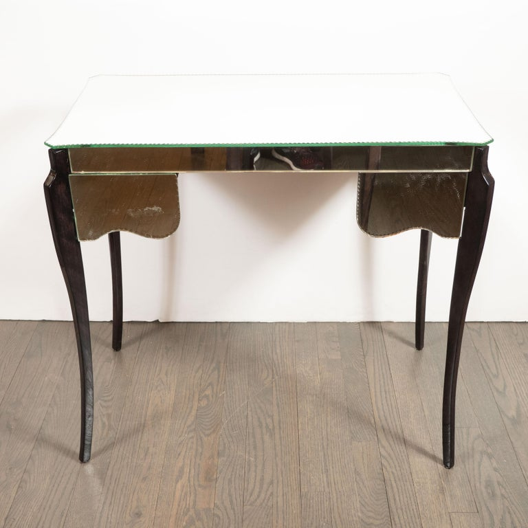 French Directoire Style Mirrored Vanity Table W/ Ebonized Walnut Cabriolet Legs For Sale 2