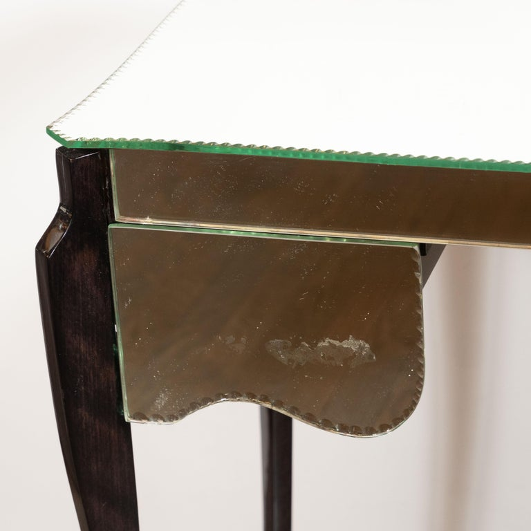 French Directoire Style Mirrored Vanity Table W/ Ebonized Walnut Cabriolet Legs For Sale 3