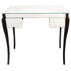 French Directoire Style Mirrored Vanity Table W/ Ebonized Walnut Cabriolet Legs