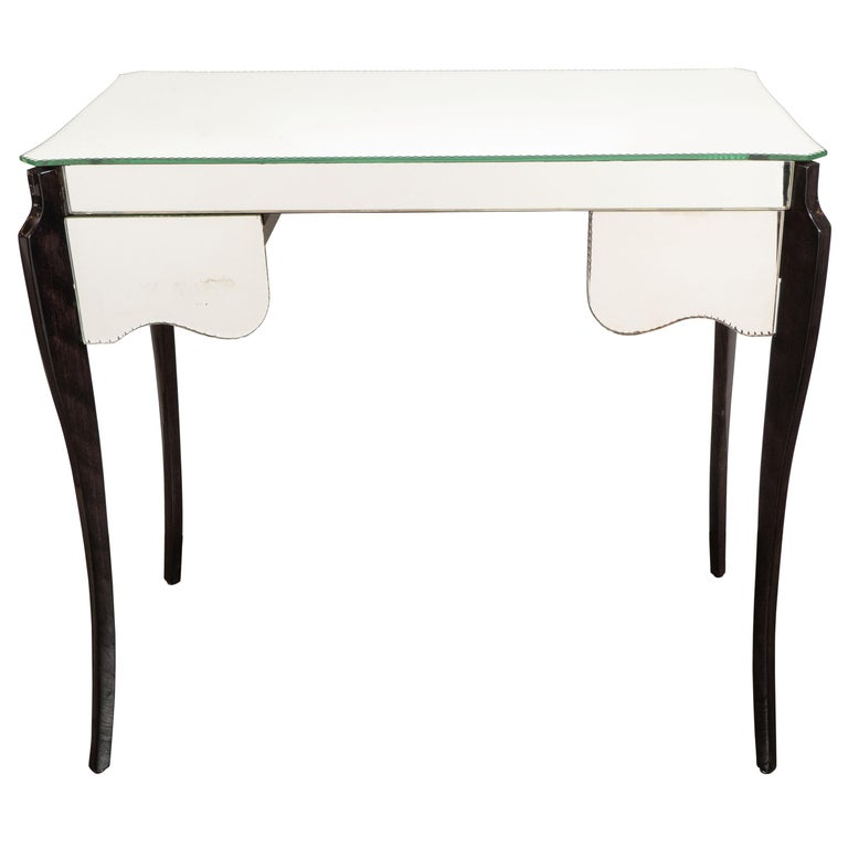 French Directoire Style Mirrored Vanity Table W/ Ebonized Walnut Cabriolet Legs For Sale