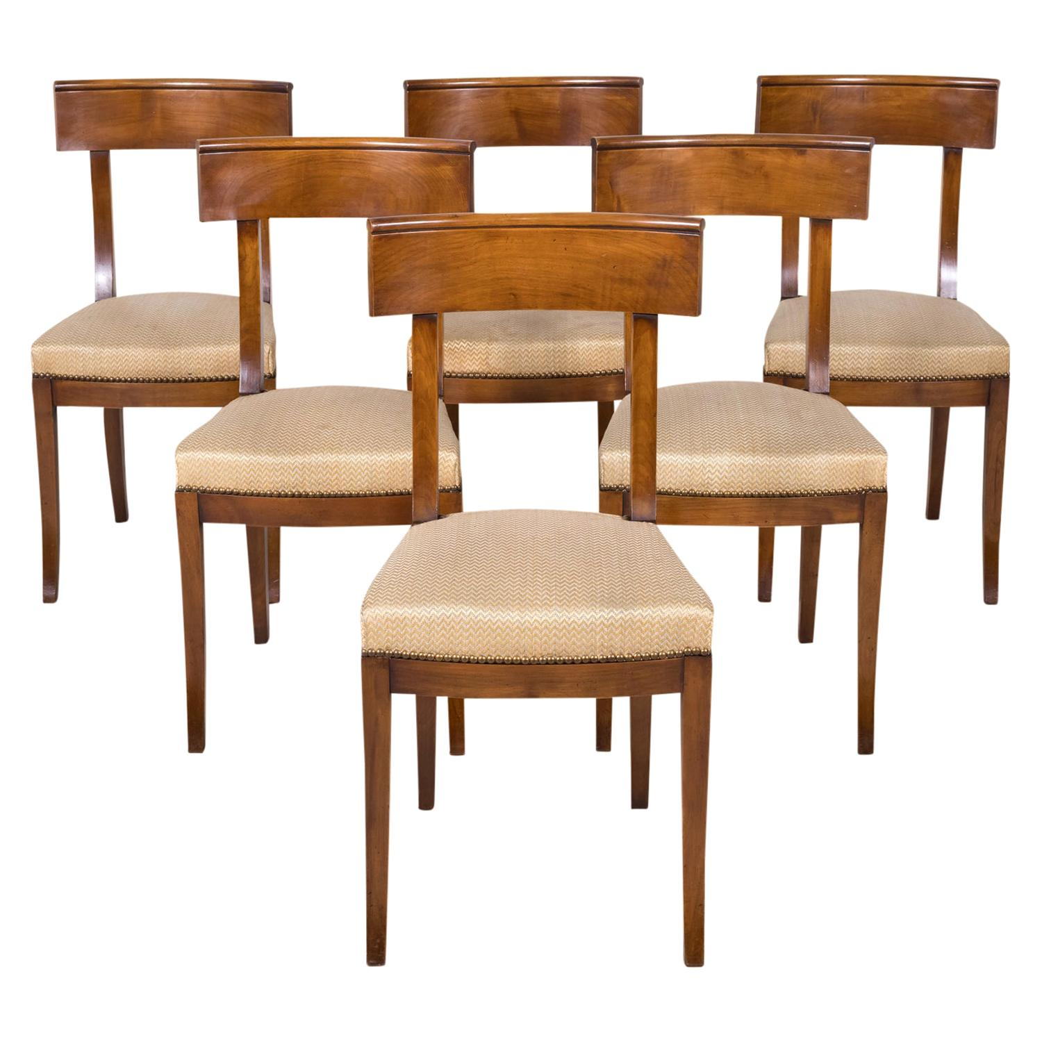 French Directoire Style Walnut Dining Side Chairs, Set of 6