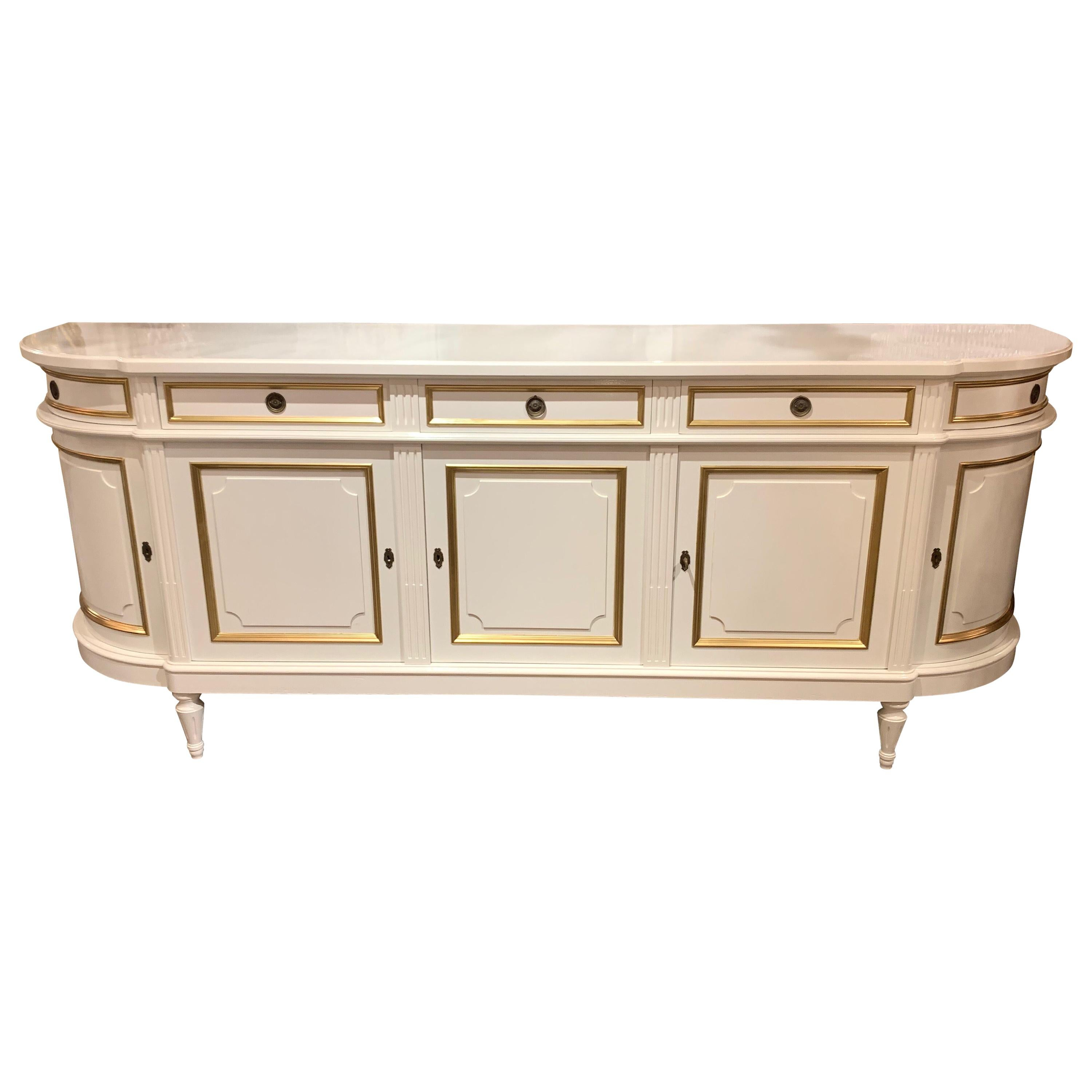 French Directoire' Style White Lacquered Server with Gilt Trim