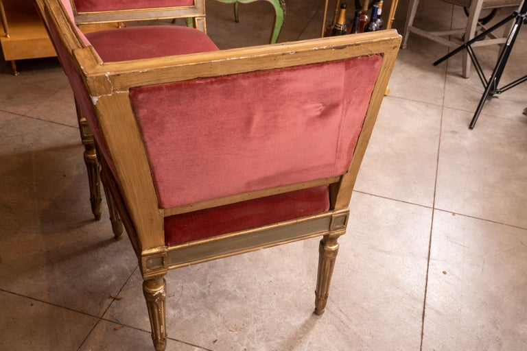 Beautifully designed French Directoire canape highlighted with paint and water gilding.