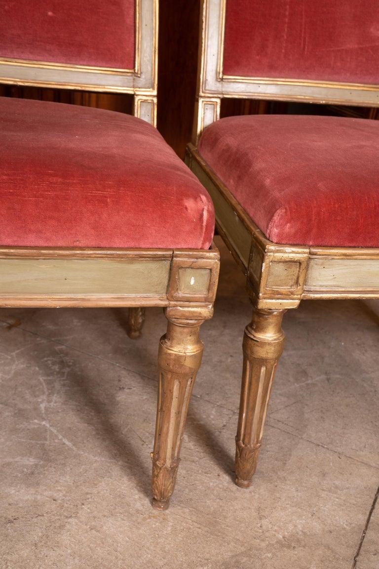 Gilt French Directoire Unique Fireplace Split Canape For Sale