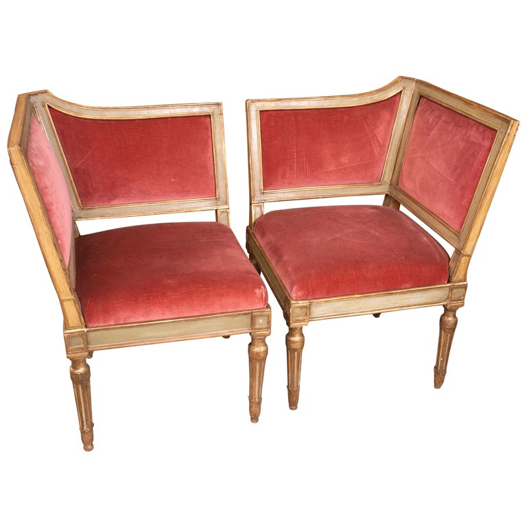 French Directoire Unique Fireplace Split Canape For Sale