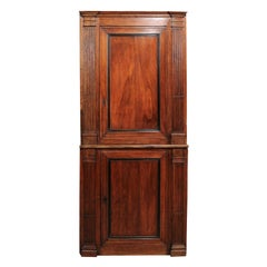 French Directoire Walnut Corner Cupboard, ca. 1790