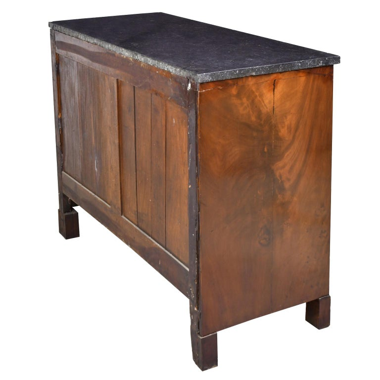 French Directoire West Indies Mahogany Chest of Drawers with Black Marble For Sale 5