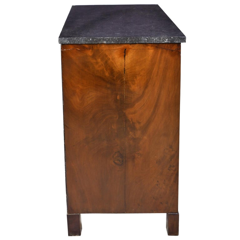 French Directoire West Indies Mahogany Chest of Drawers with Black Marble For Sale 6